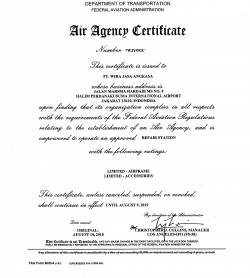FEDERAL AVIATION ADMINISTRATION UNDER PART 145 CERTIFICATE