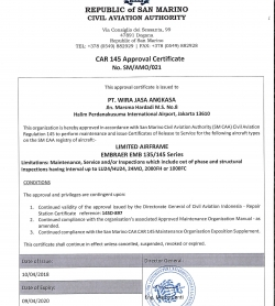 CAR 145 APPROVAL CERTIFICATE BY REPUBLIC OF SAN MARINO CIVIL AVIATION AUTHORITY